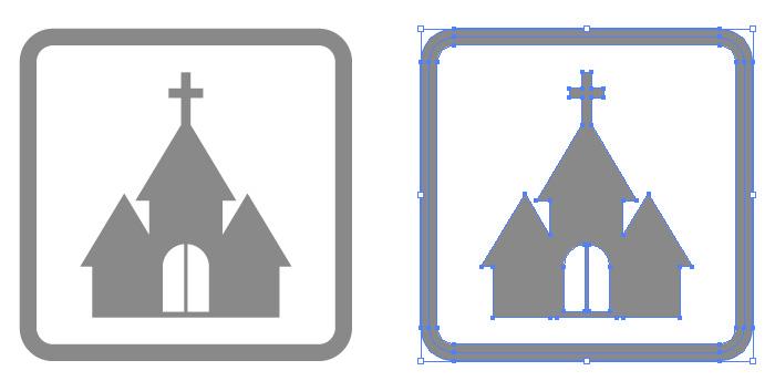 教会の簡易アイコンイラスト イラレeps素材イラストレーター