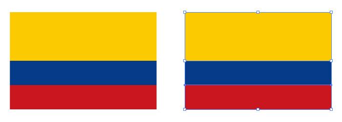 黄・青・赤の組み合わせからなるコロンビアの国旗