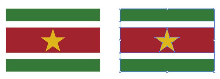 黄色の星と赤・白・緑の組み合わせからなるスリナムの国旗