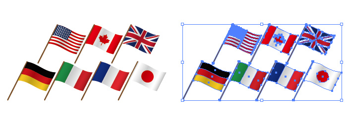 G7ジーセブン先進国の揺らめく国旗フラッグイラストセット