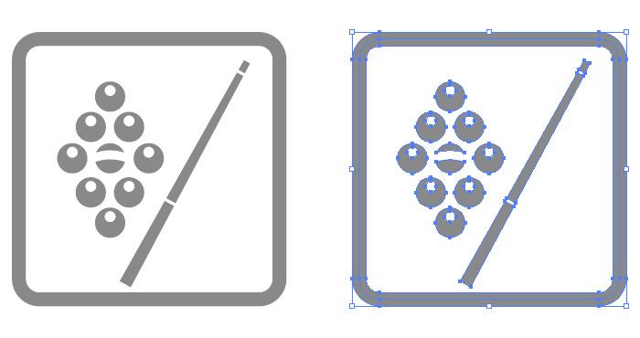 ビリヤード場の簡易アイコンイラスト