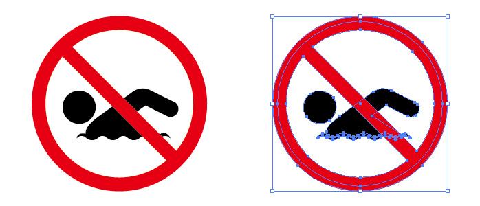 遊泳禁止の標識アイコンイラスト