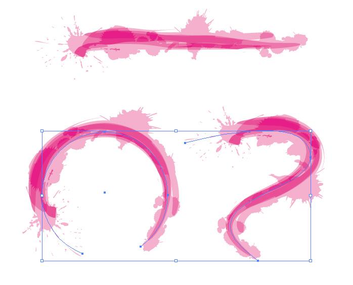 ピンクのインクが飛び散ったような筆のイラスト・アートブラシ素材
