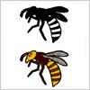 蜂のイラストとシルエット素材