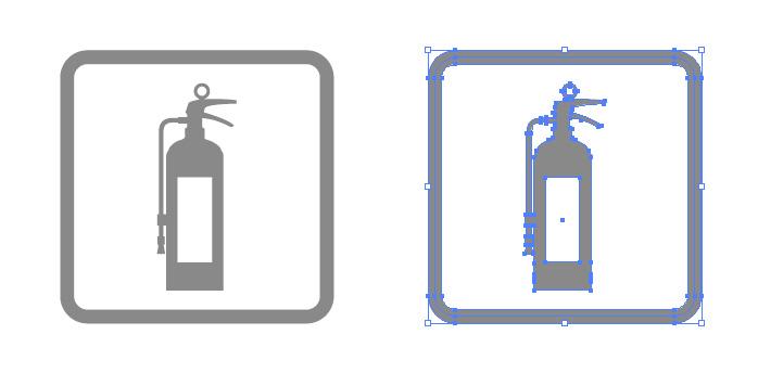 消火器の簡易アイコンイラスト