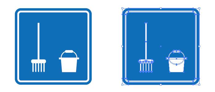 モップとバケツの清掃アイコンマーク