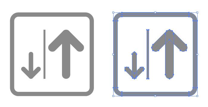 右側通行を表す簡易アイコンイラスト