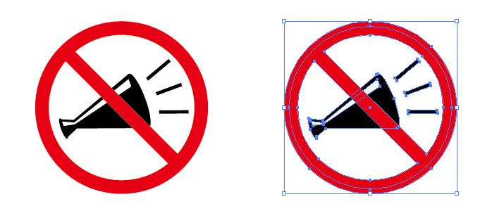 メガホンイラストの大声禁止等を表す標識アイコンマーク