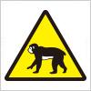 猿遭遇注意の標識アイコンイラスト