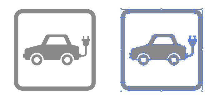 電気自動車案内の簡易アイコンイラスト