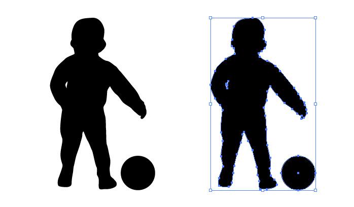 ボール遊びする子供のシルエットイラスト