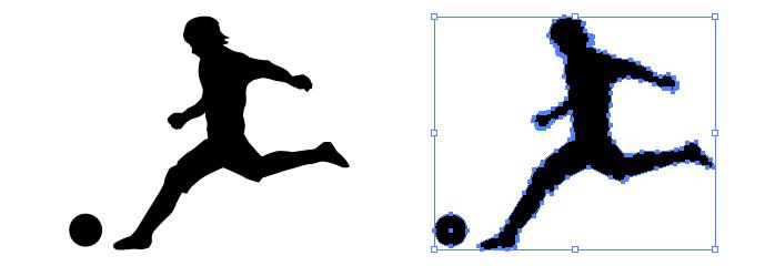 サッカーボールを蹴る男性のシルエットイラスト