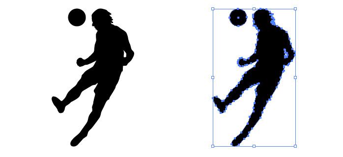 サッカーでヘディングをするシルエットイラスト