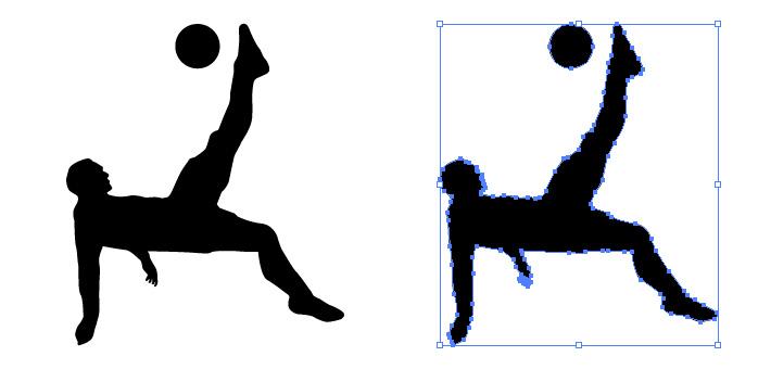 サッカーのオーバーヘッドをするシルエットイラスト
