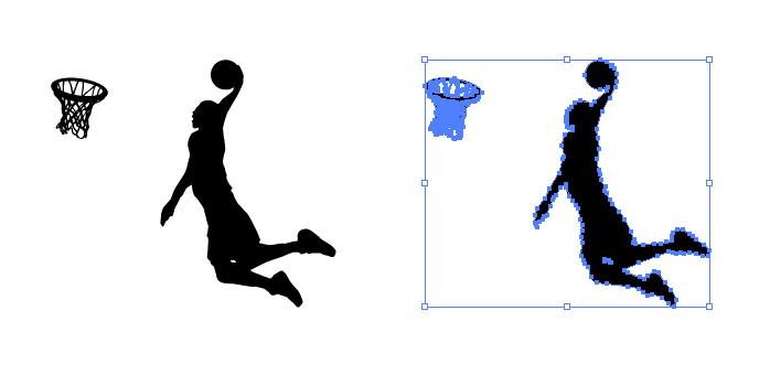 バスケットリングにダンクするシルエットイラスト