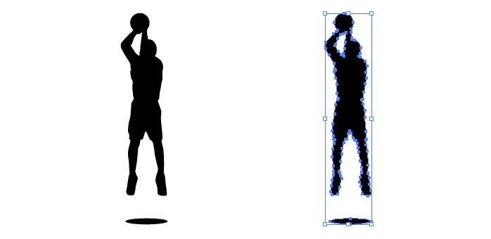 バスケットのジャンプシュートのシルエットイラスト