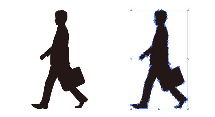 カバンを持って歩くサラリーマンのシルエット・影絵素材
