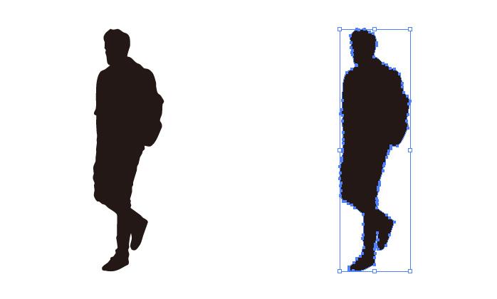 リュックを背負って歩く男性のシルエット・影絵素材