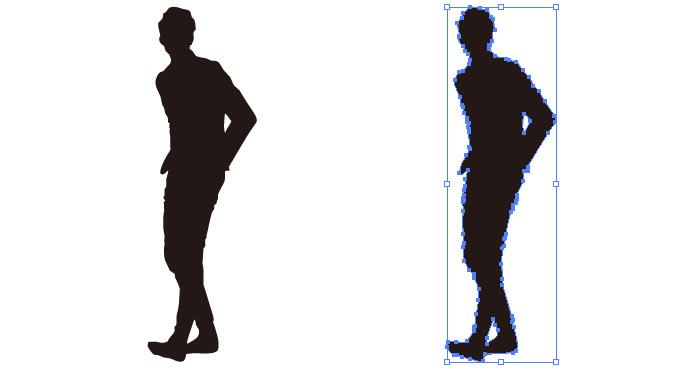 オシャレに立つ男性のシルエット・影絵素材