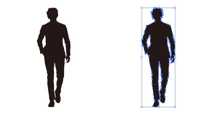 正面向きの歩く男性のシルエット・影絵素材