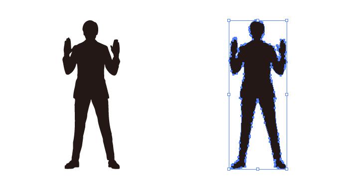 両手を少し上げた男性のシルエット・影絵素材