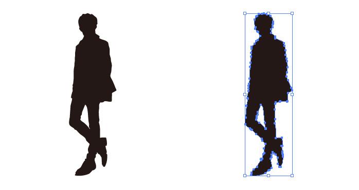 シュッと立つ男性のシルエット・影絵素材