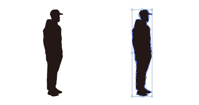 横向きに立つ男性のシルエット・影絵素材