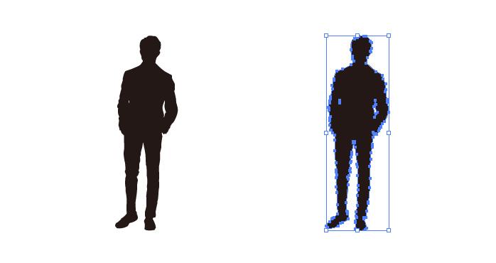 ポケットに手を入れて立つ男性のシルエット・影絵素材
