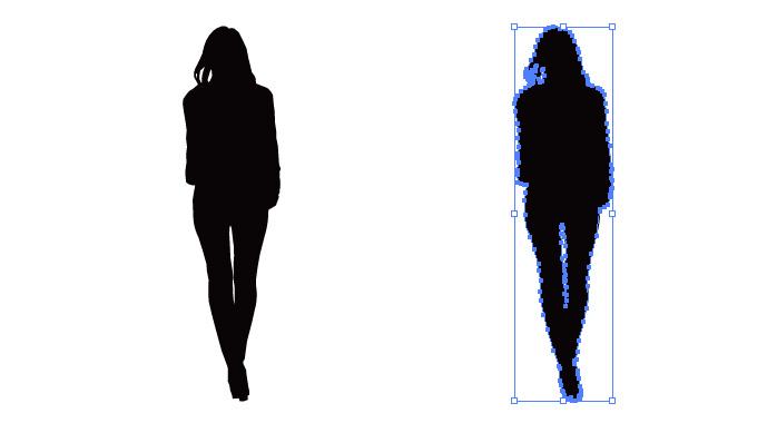 パンツスタイルの女性のシルエット・影絵素材