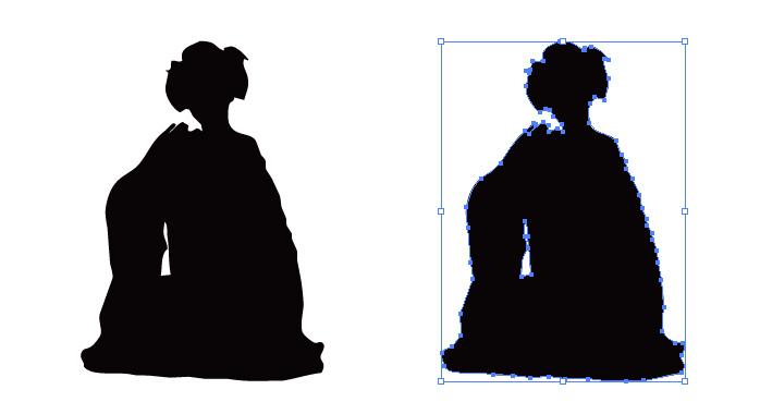 しゃがみこんだ着物の女性のシルエット・影絵素材