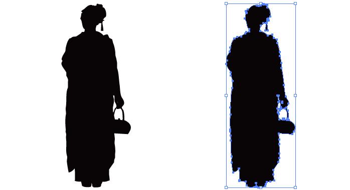 小さいバックを持つ着物の女性のシルエット・影絵素材