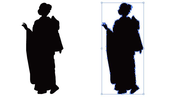 振袖姿の女性のシルエット・影絵素材