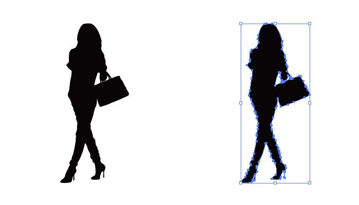 ヒールを履いたスレンダーな女性のシルエット・影絵素材