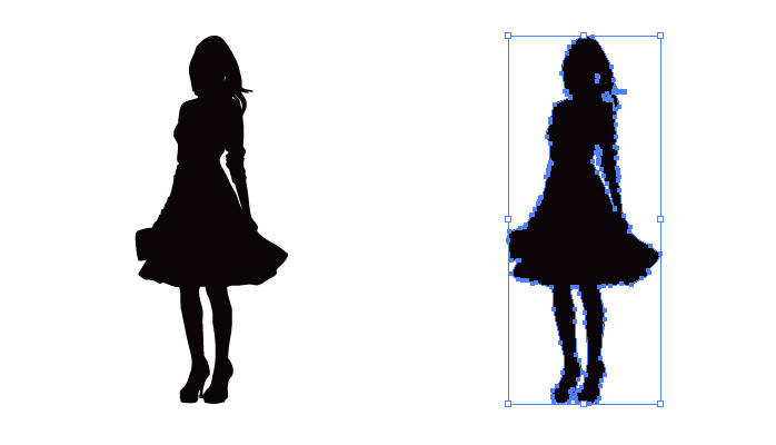 チュチュ・スカートを穿いた女性のシルエット・影絵素材