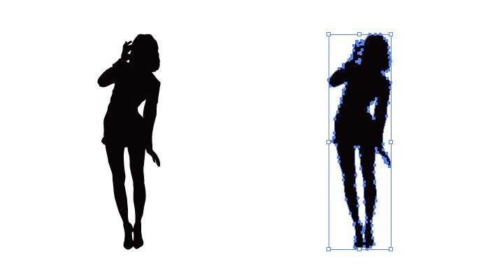くの字の様に立つ女性のシルエット・影絵素材
