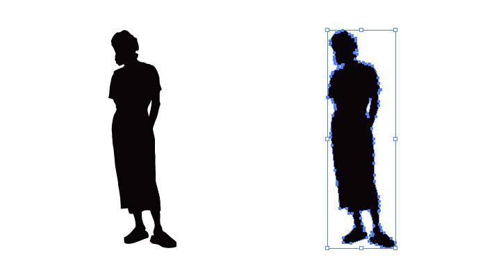 後ろで手を組んだロングスカートの女性のシルエット・影絵素材
