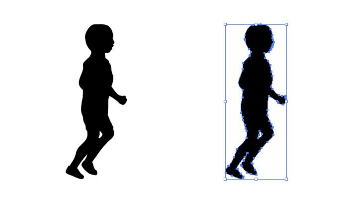 走る男の子のシルエット・影絵素材