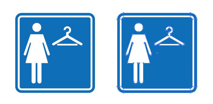 女性用の試着室を表す案内標識アイコンマーク