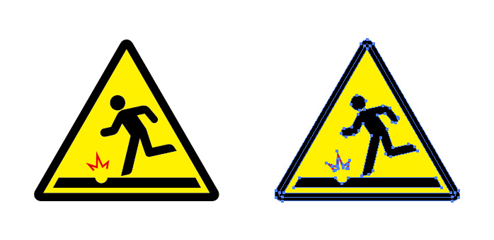 陥没 穴 注意を表す標識アイコンマーク
