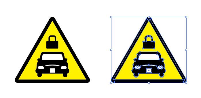 自動車の施錠注意を表す標識アイコンマーク
