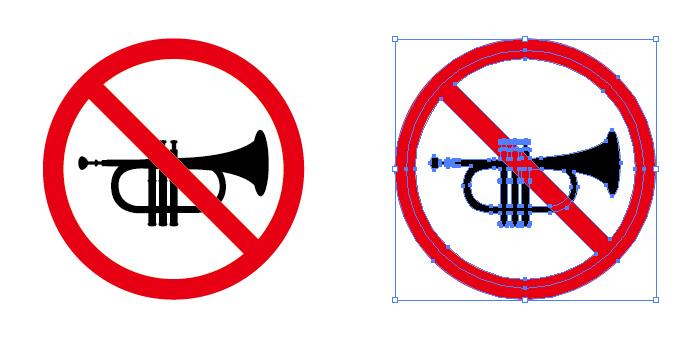 金管楽器の演奏禁止を表す標識アイコンマーク