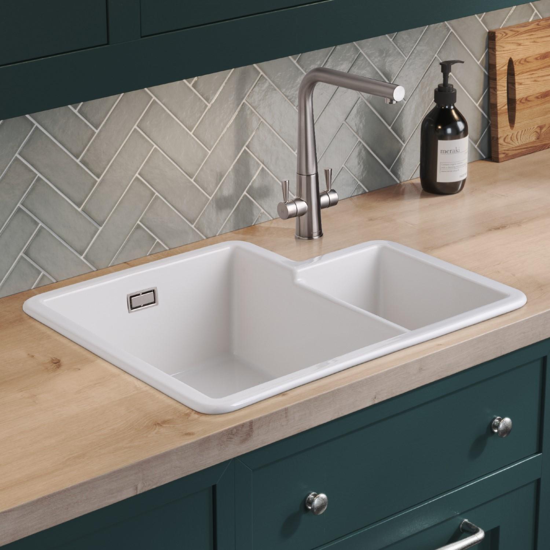 1 3 bowl undermount white ceramic kitchen sink rangemaster rustiqe