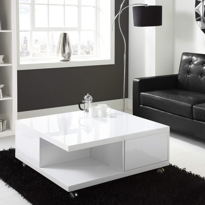 modern white high gloss square coffee