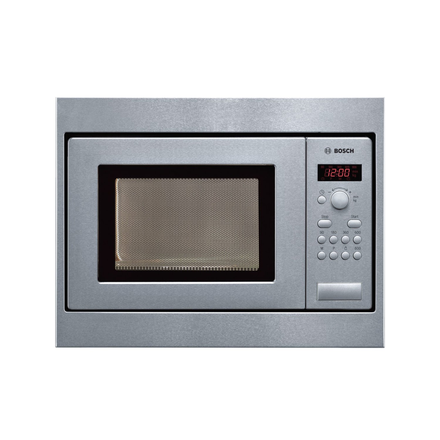 bosch hmt75m551b 800w 17l built in microwave oven for 50cm wide cabinet brushed steel