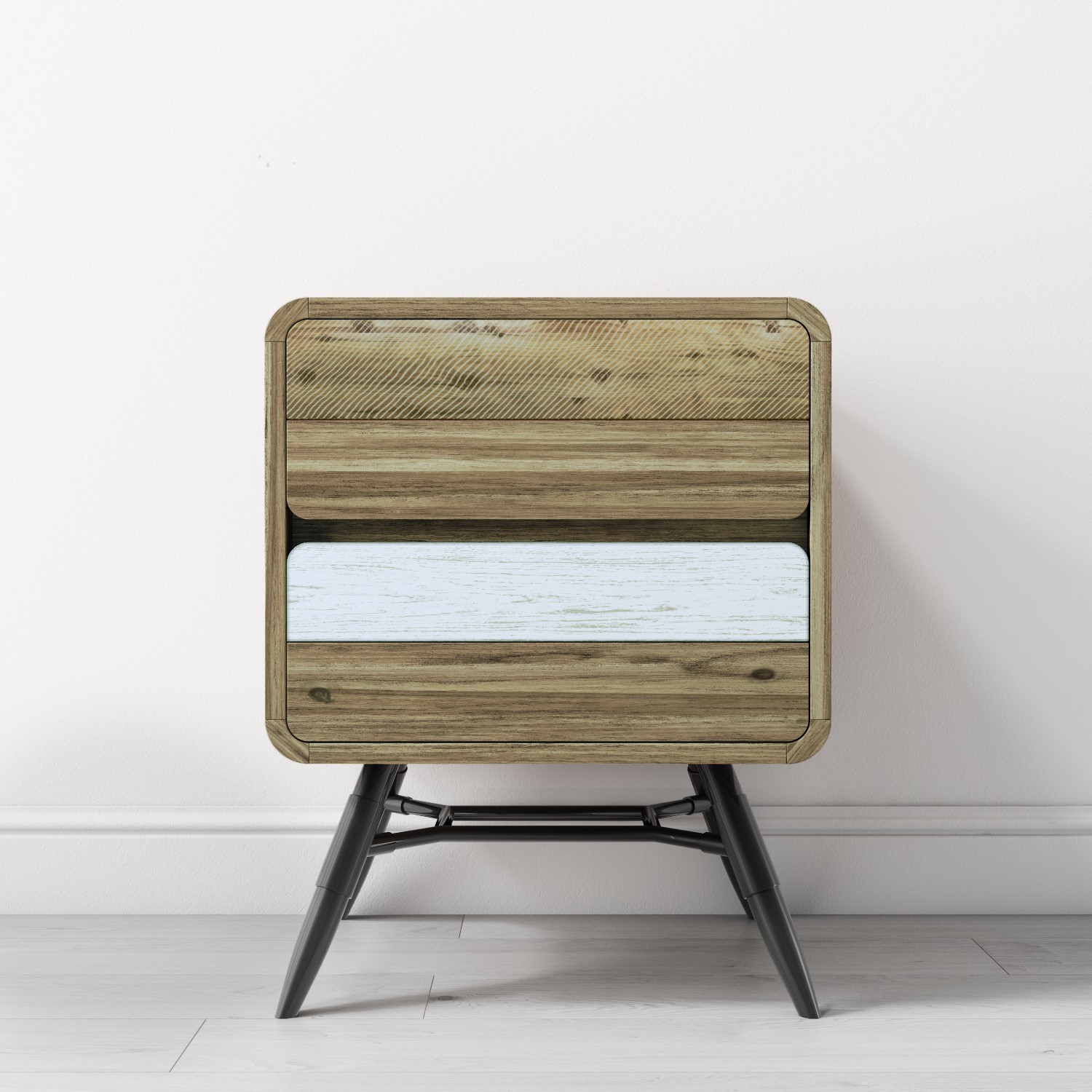 Details About Industrial Side Table With 2 Drawers In Reclaimed Wood With Metal Legs