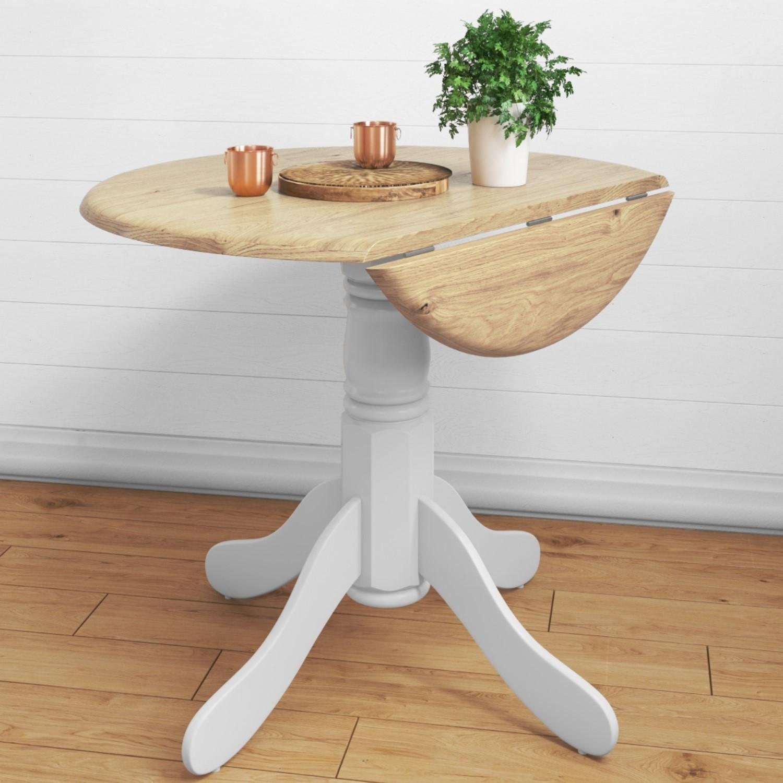 Small Round Drop Leaf Table In White Wood Seats 4 Rhode Island Rhd008 Ebay