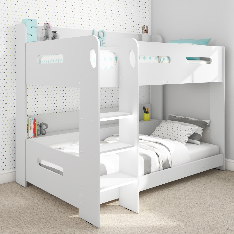 Modern Kids White Wooden Bunk Bed Storage Shelves Ebay