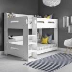 Modern Kids White Wooden Bunk Bed Storage Shelves