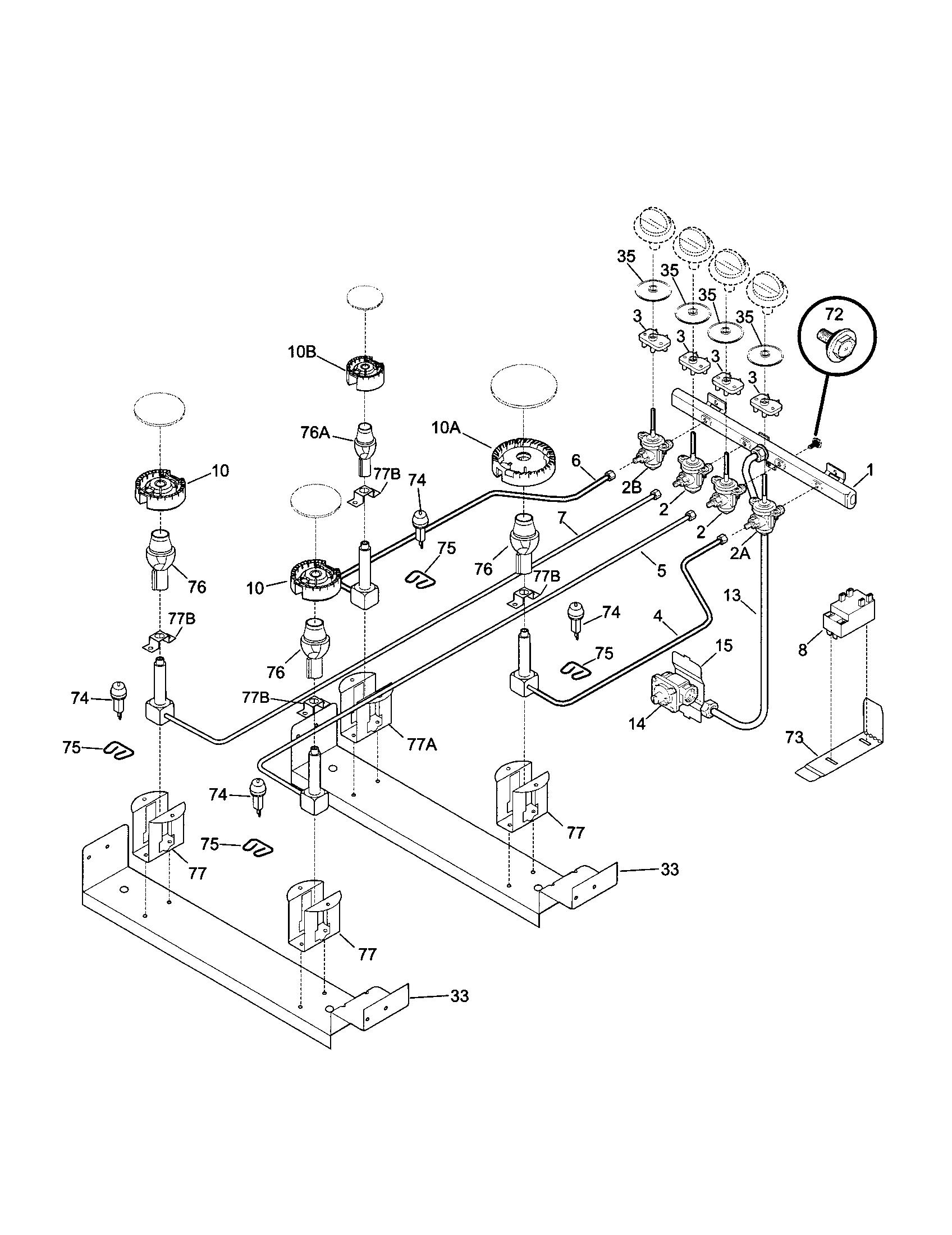 79046819992 elite dual fuel slide in range burner parts diagram