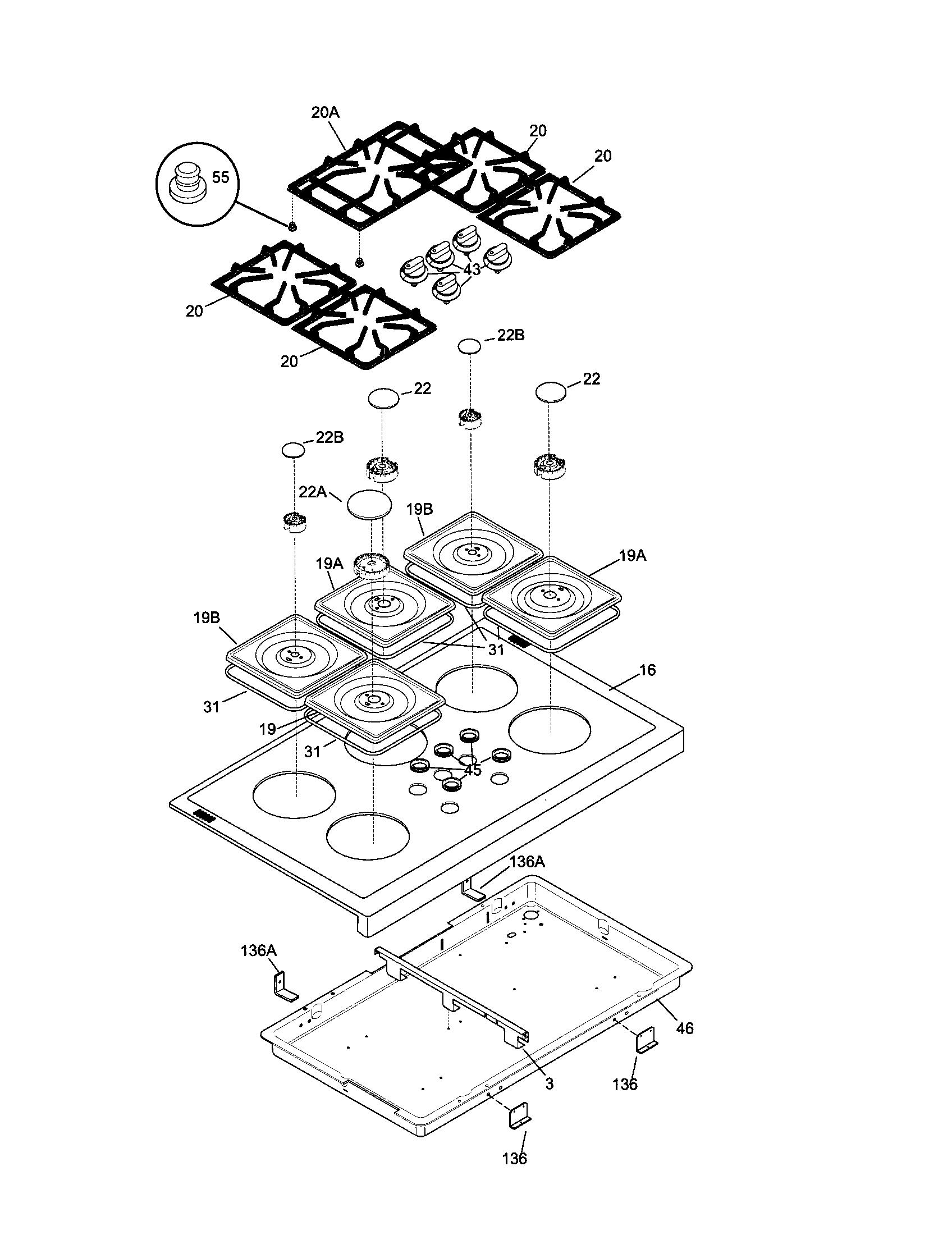 79074403995 dual fuel range top parts diagram